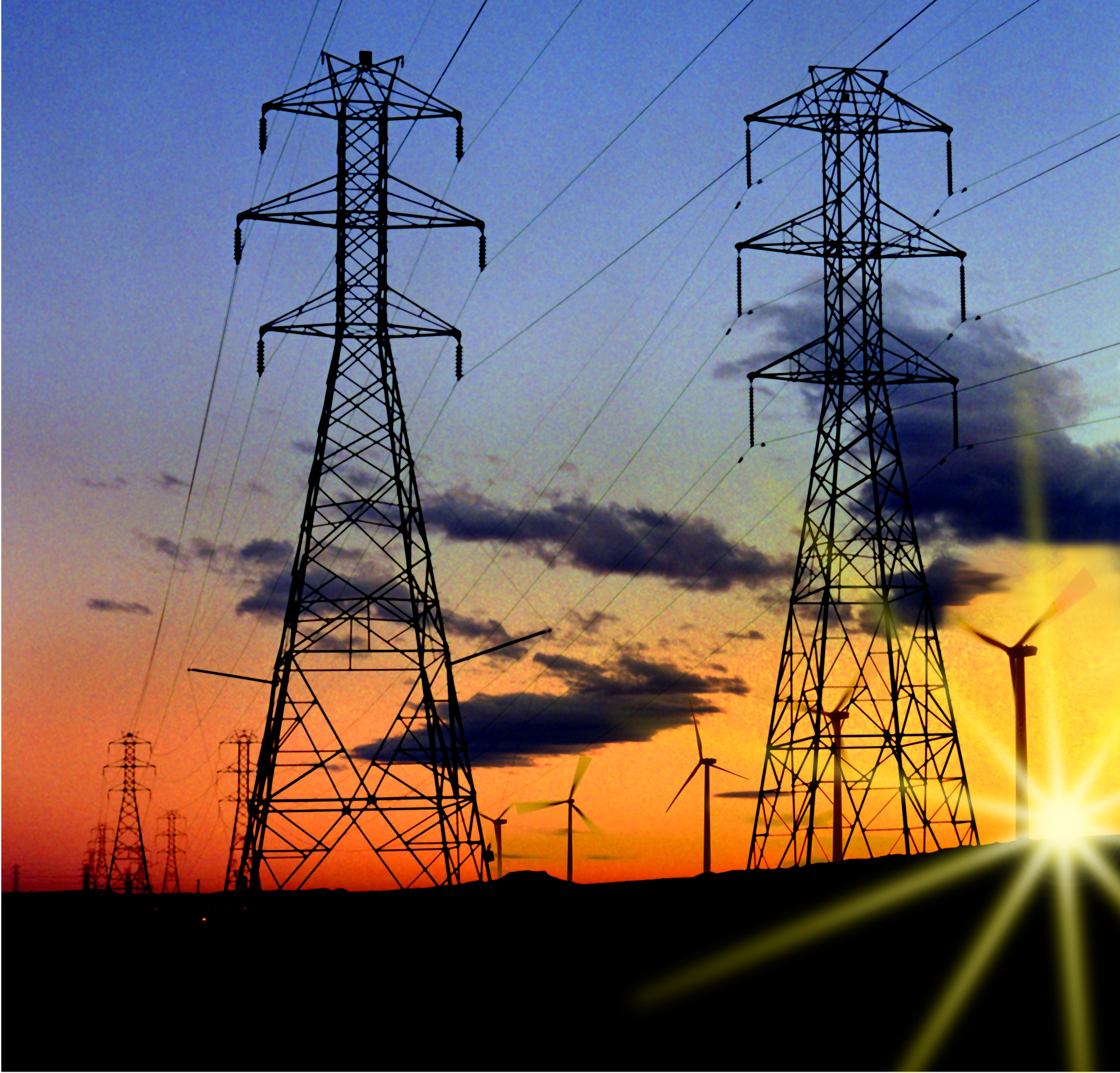 Photoshop art created from two NREL-Image Gallery  photos of sunset view of electrical power towers combined with wind machines.  (Photo Illustration by Raymond David / NREL)